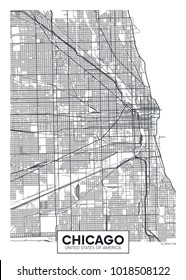 Detailed vector poster city map Chicago