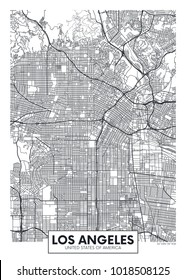 Detailed vector poster city map Los Angeles