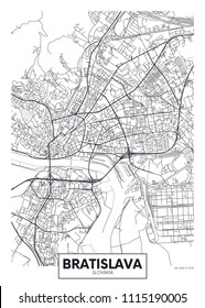 Detailed vector poster city map Bratislava