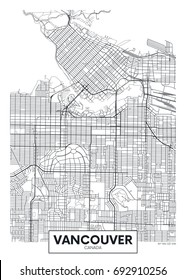Detailed vector poster city map Vancouver