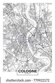 Detailed vector poster city map Cologne