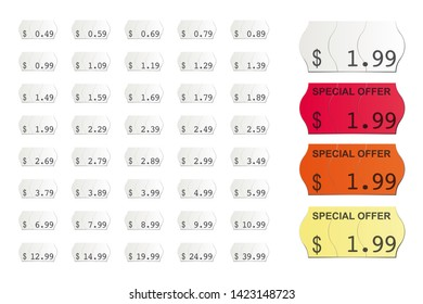 detailed vector price tags isolated on white background
