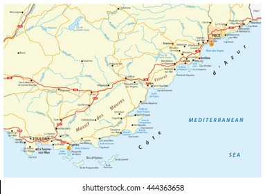 detailed vector road map of french riviera