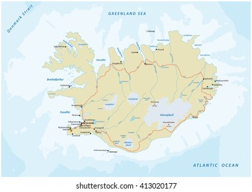 detailed vector road map of republic of iceland