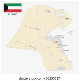 Detailed Vector Road Map State Kuwait Stock Vector 582535162