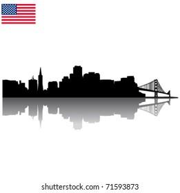 Detailed vector San Francisco silhouette skyline with USA flag