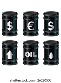 A detailed vector set of glossy black oil barrels with currency and other symbols.