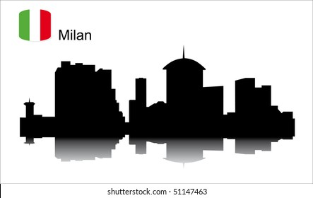 Detailed vector silhouette  city of Milan