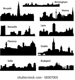 Detailed vector silhouettes of European cities part 2