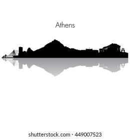 Detailed vector skyline of Athens with famous monuments