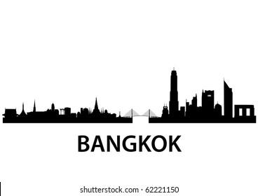 detailed vector skyline of Bangkok