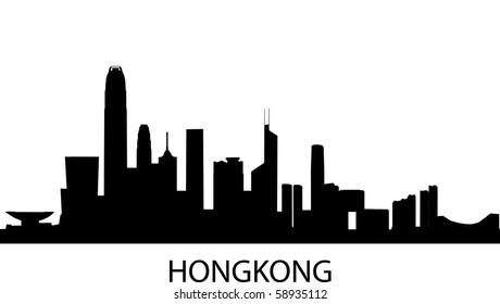 detailed vector skyline of Hongkong, China