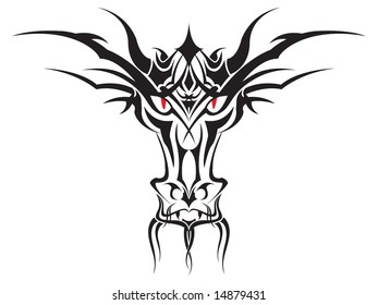Detailed vector of a tribal Dragon Face. Mouth shows hidden second face.