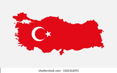 Detailed vector Turkey country map isolated on background. Flag state template travel trip for pattern, report, infographic, backdrop. Turkey nation business silhouette sign concept.