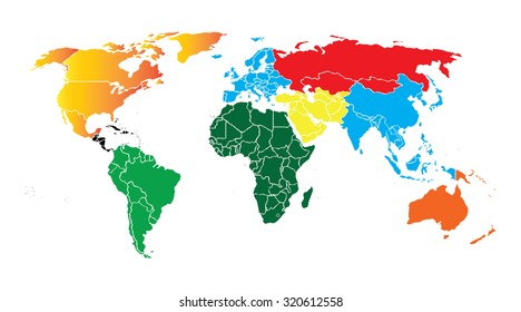 Detailed vector World map of rainbow colors. Names, town marks and national borders are in separate layers.