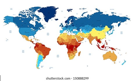Detailed vector World map of red, blue, yellow colors. Names, town marks and national borders are in separate layers.
