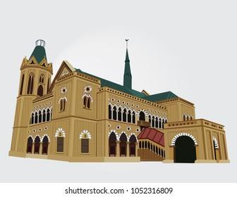 Detailed Vector/Illustration of Frere hall , Karachi , Pakistan in White Background.
