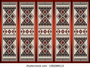 Detailed Vintage Red and Black Theme Sadu Weaving Pattern