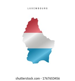 Detailed waving flag map of Luxembourg. Vector map with masked flag.