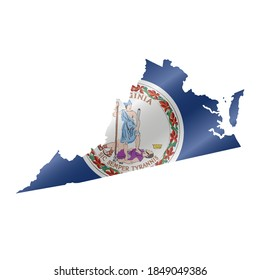 Detailed waving flag map of Virginia. Vector map with masked flag.
