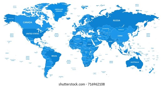 Detailed world map with borders, countries