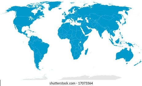 Detailed world map with country borders
