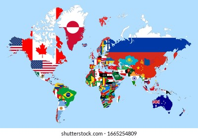 Detailed World map drawing. Flags within the borders of the countries. Map with all countries and islands. Vector country vector of country merged with flags.