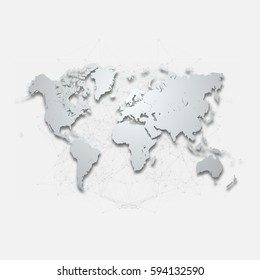 Detailed World Map with Geometric Mesh Element | Editable EPS10 Vector Design Background