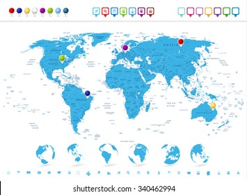 Detailed World Map with Globe Icons and Navigation Symbols.