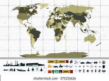 Detailed World Map and Military Power Icon Set.All elements are separated in editable layers clearly labeled.