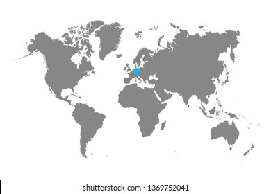 Detailed World Map in Monochrome with Germany Selected Blue. Vector Illustration.