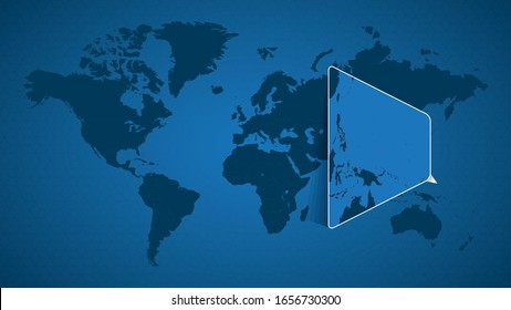 Detailed world map with pinned enlarged map of Micronesia and neighboring countries. Micronesia flag and map.