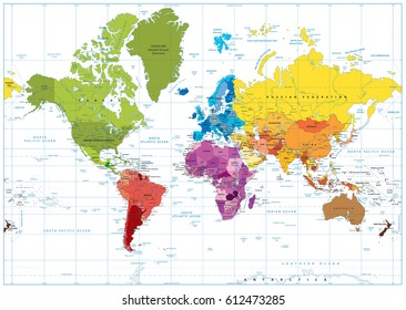 Detailed World Map spot colored illustration. Highly detailed spot colored illustration of World Map: land contours, countries and land names, city names and water object names.