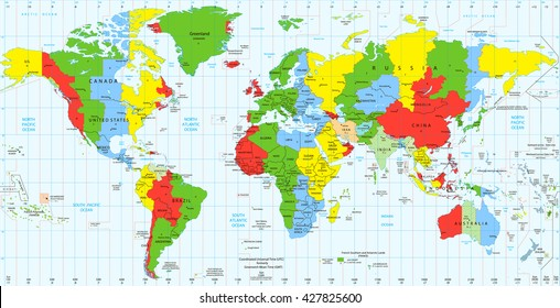 Detailed World map standard time zones. Vector illustration.