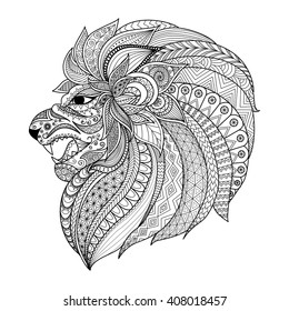 Detailed zentangle stylized lion for T shirt graphic, coloring book pages for adult, cards, tattoo and so on