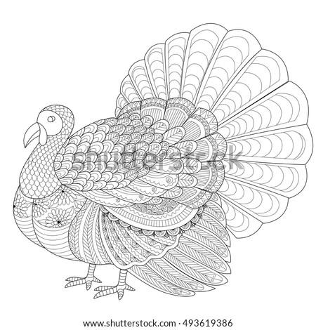Detailed Zentangle Turkey Coloring Page Adult Stock Vektorgrafik