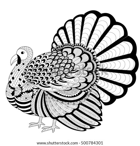Detailed Zentangle Turkey Coloring
