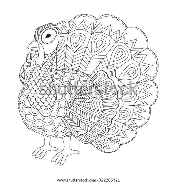 Detailed Zentangle Turkey Coloring Page Adult Stock Vector ...