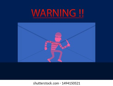 Detected hacker in phishing mail, vector art