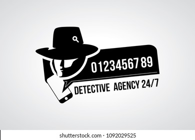 Detective agency with call number icon. Vector illustration