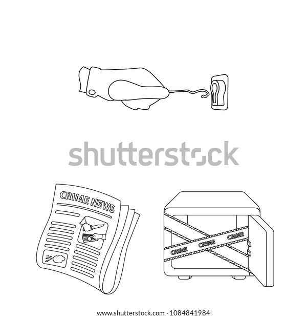 Detective agency outline icons in set collection for design. Crime and investigation vector symbol stock web illustration.