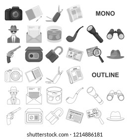 Detective and Attributes monochrom icons in set collection for design.Detective Agency vector symbol stock web illustration.