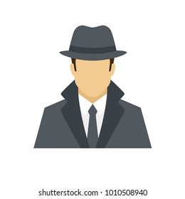 Detective avatar icon. Profession logo. Male character. A man in professional clothes. People specialists. Flat simple vector illustration.