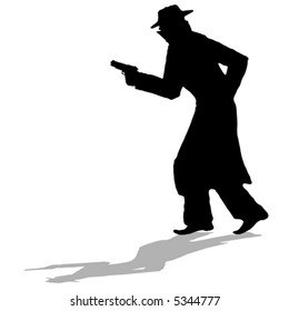 detective - black silhouette of man with gun (vector)