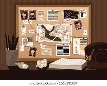 Detective board composition with view of investigators workspace with vintage telephone pinned suspect photos and captions vector illustration