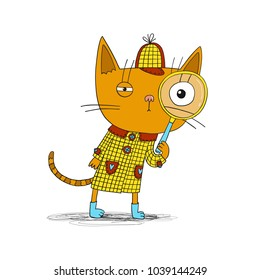 Detective cat in coat. Vector children book character illustration.