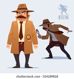 detective character design, cartoon flat style, vector color illustration, detective looking through magnifying glass