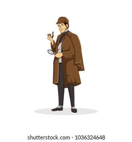 detective character logo mascot