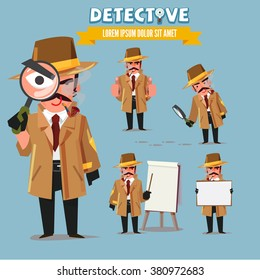 Detective character set. character design with typographic - vector illustration
