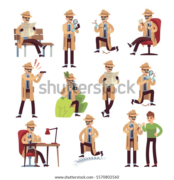 Detective Characters Cartoon Police Secret Agent Stock Vector Royalty Free 1570802560